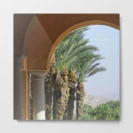 Classic Desert Oasis Archway To Exotic Palm Trees Metal Print