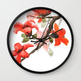 red orange kapok flowers watercolor Wall Clock