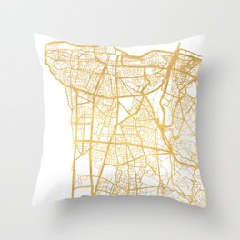 BEIRUT LEBANON CITY STREET MAP ART Throw Pillow