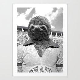 Footballer Sloth playing for Brazil Art Print