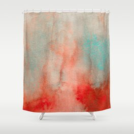 Abstract Watercolor Minimalist Rust Series - Untitled I orange turquoise marble Shower Curtain