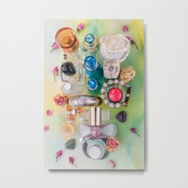 Collection of colorful perfume bottles  and jewelries Metal Print