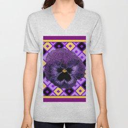 Yellow & Purple Checkered Pansy Pattern Unisex V-Neck