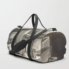 As Time Passes in Black and White Duffle Bag