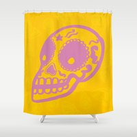 sugar skulls Shower Curtains featuring Sugar Skulls by Rhys Prosser