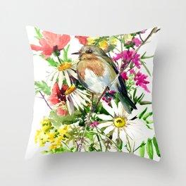 Robin Bird and Summer Colors Throw Pillow