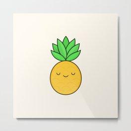 Happy Pineapple Metal Print