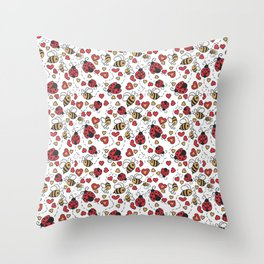 Bugs and Bees Throw Pillow