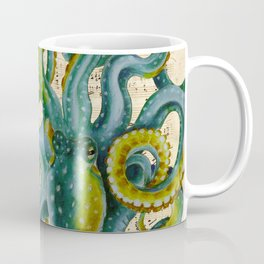 Octopus Compass Green Music Collage Coffee Mug