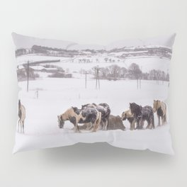 horses in the snow Pillow Sham