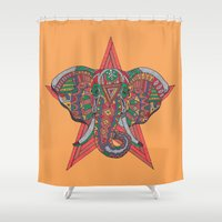 hakuna Shower Curtains featuring Hakuna Matata by Sharif El Fatatry