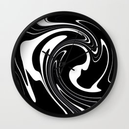 Modern Black and White Abstraction Wall Clock