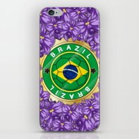 brazil iPhone & iPod Skins featuring Football Brazil by mewdew