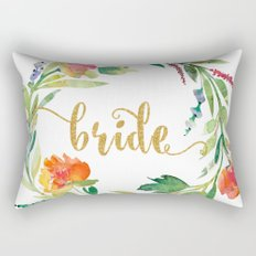 Bride Gold Typography Flowers Wreath Rectangular Pillow