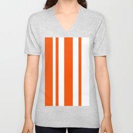 Mixed Vertical Stripes - White and Dark Orange Unisex V-Neck