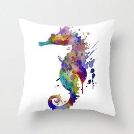 Colorful Seahorse Silhouette Throw Pillow