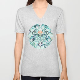 Ocean Aqua Art Nouveau Pattern with Peach Flowers Unisex V-Neck
