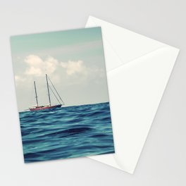 Wooden Sailboat Sailing on the Horizon, Open Blue sea Stationery Cards