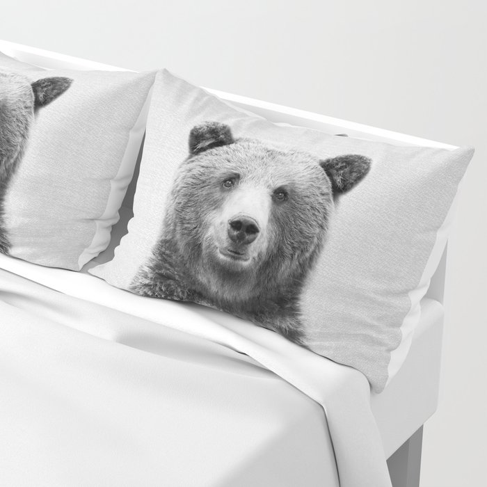 Grizzly Bear - Black & White Kissenbezug