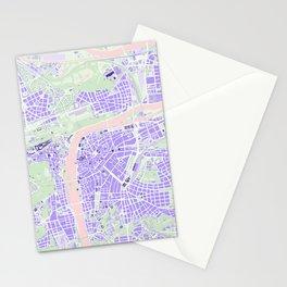 Prague map violet Stationery Cards