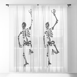 Rock and Roll Skeleton v1 Sheer Curtain