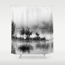 Watercolor Landscape on Water (Black and White) Shower Curtain