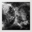 Antique Map Space Stars Black and White by mapmaker