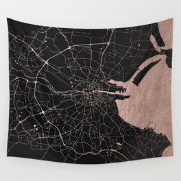 Black on Rosegold Dublin Street Map Wall Tapestry