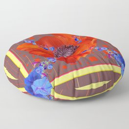 Red Poppy Blue Morning Glories Abstract Pattern Floor Pillow
