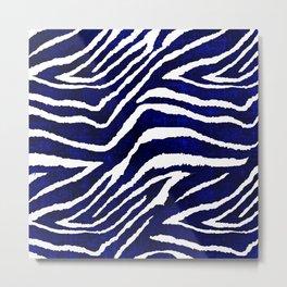 Animal Print: Zebra Blue and White Metal Print