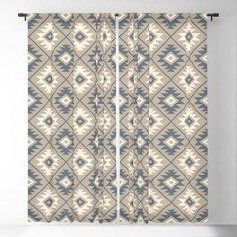 Aztec Symbol Stylized Pattern Blue Cream Sand Blackout Curtain