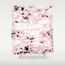 Lava Pattern Abstract Rosé and White Shower Curtain
