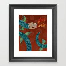 Happy Birthday Dragon Framed Art Print