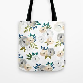 Sweet Blooms - Blue & Cream Tote Bag