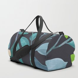 Colorful Mystical Watercolor Floral Plant Pattern Dark Turquoise Blue Teal Leaves Duffle Bag