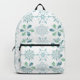 Snowflake, star and leafy Christmassy pattern.  Backpack