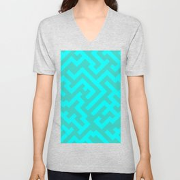 Cyan and Turquoise Diagonal Labyrinth Unisex V-Neck