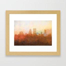 Jacksonville, Florida Skyline - In the Clouds Framed Art Print