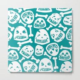 Skulls Pattern 1 (Teal) Metal Print