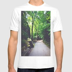 A Woodland Path MEDIUM White Mens Fitted Tee