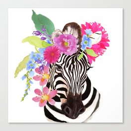 Zebra with Flowers Canvas Print