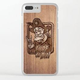 Zombie Pirate Skully Surf or Die on Wood. Clear iPhone Case