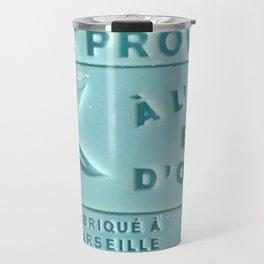 blue french marseille soap Travel Mug