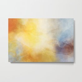 Orange and Yellow Abstract Painting Morning Glow Metal Print
