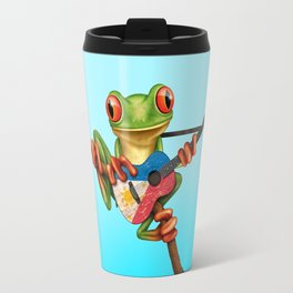 Tree Frog Playing Acoustic Guitar with Flag of Philippines Travel Mug