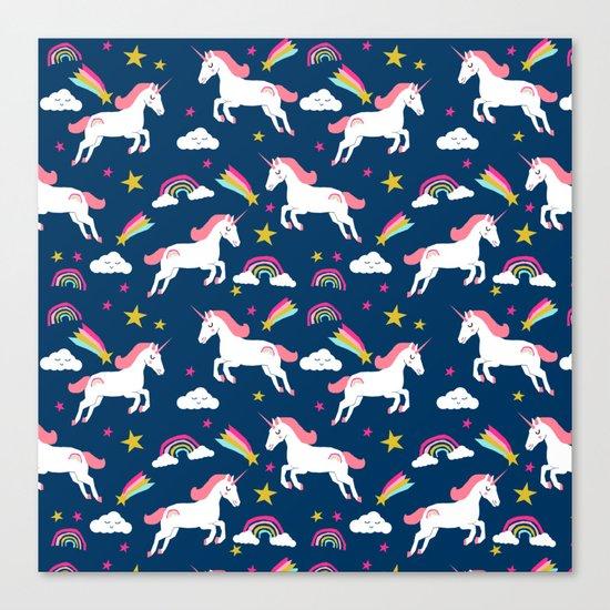 Unicorns happy clouds rainbows magical pony pattern navy pastels Canvas Print