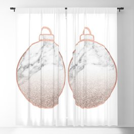 Rose gold Christmas bauble II Blackout Curtain