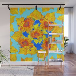 Turquoise-gold Sunflowers Leaves Pattern Abstract Wall Mural