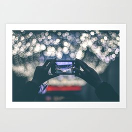 Woman Holding Phone To Capture Picture Art Print