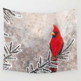 The Red Cardinal in winter Wall Tapestry